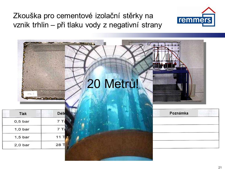 PrůsakyDélka/čas Zkouška pro cementové izolační stěrky na vznik trhlin – při tlaku vody z negativní strany 21 Tlak Poznámka 20 Metrů!