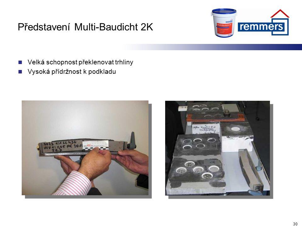 Představení Multi-Baudicht 2K Velká schopnost překlenovat trhliny Vysoká přídržnost k podkladu 30
