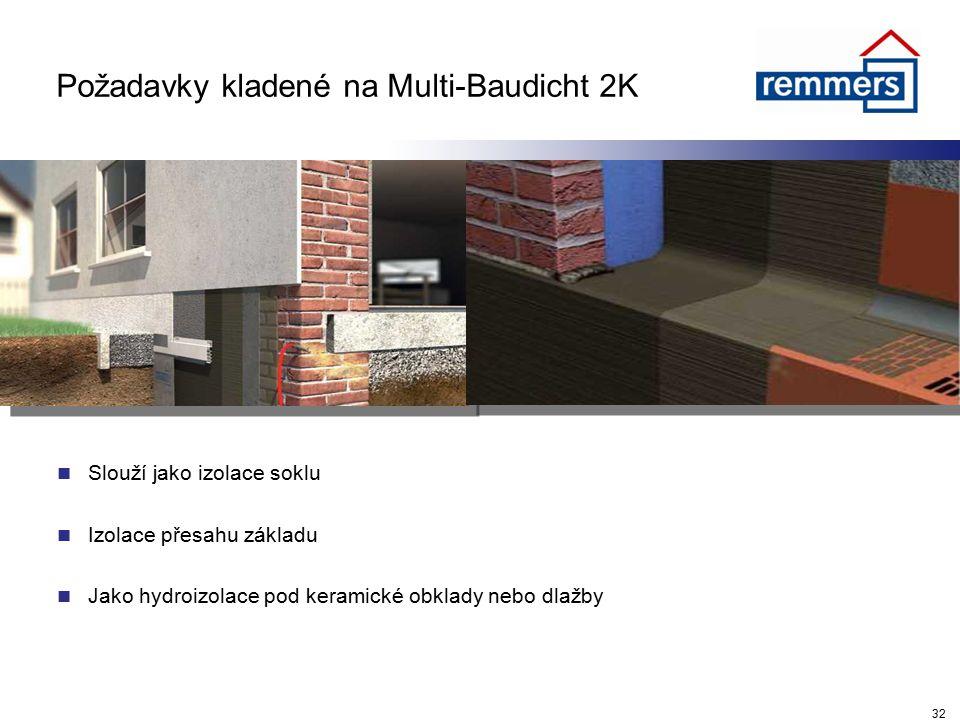 Požadavky kladené na Multi-Baudicht 2K Slouží jako izolace soklu Izolace přesahu základu Jako hydroizolace pod keramické obklady nebo dlažby 32