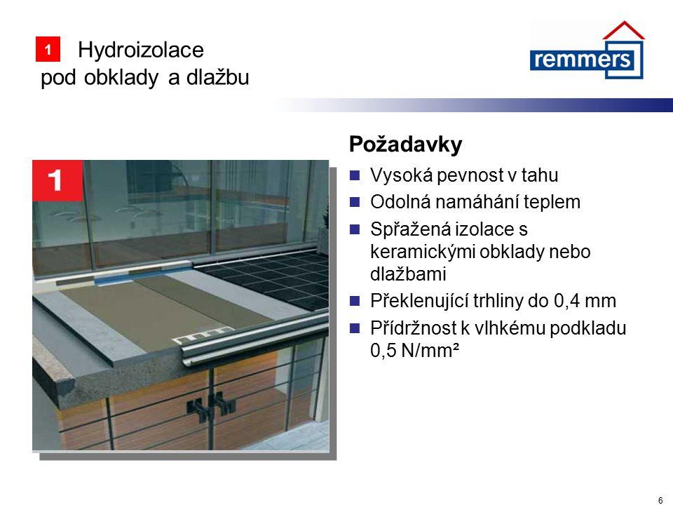 Hydroizolace pod obklady a dlažbu Požadavky Vysoká pevnost v tahu Odolná namáhání teplem Spřažená izolace s keramickými obklady nebo dlažbami Překlenu