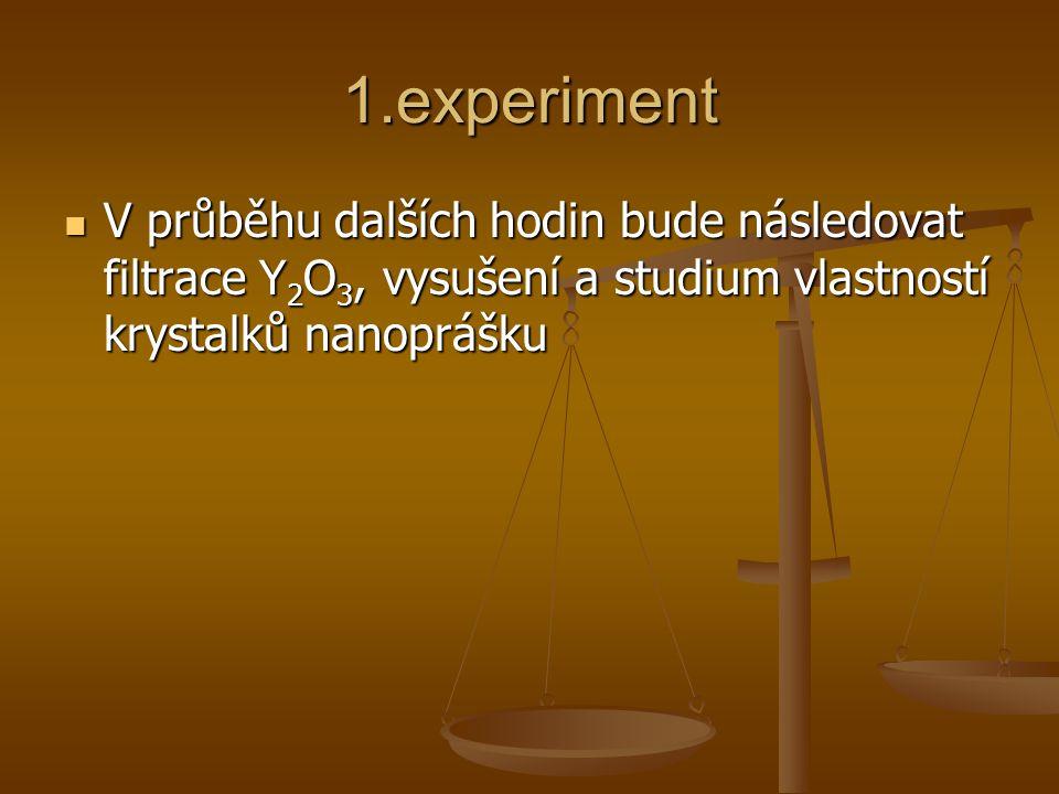 1.experiment V průběhu dalších hodin bude následovat filtrace Y 2 O 3, vysušení a studium vlastností krystalků nanoprášku V průběhu dalších hodin bude