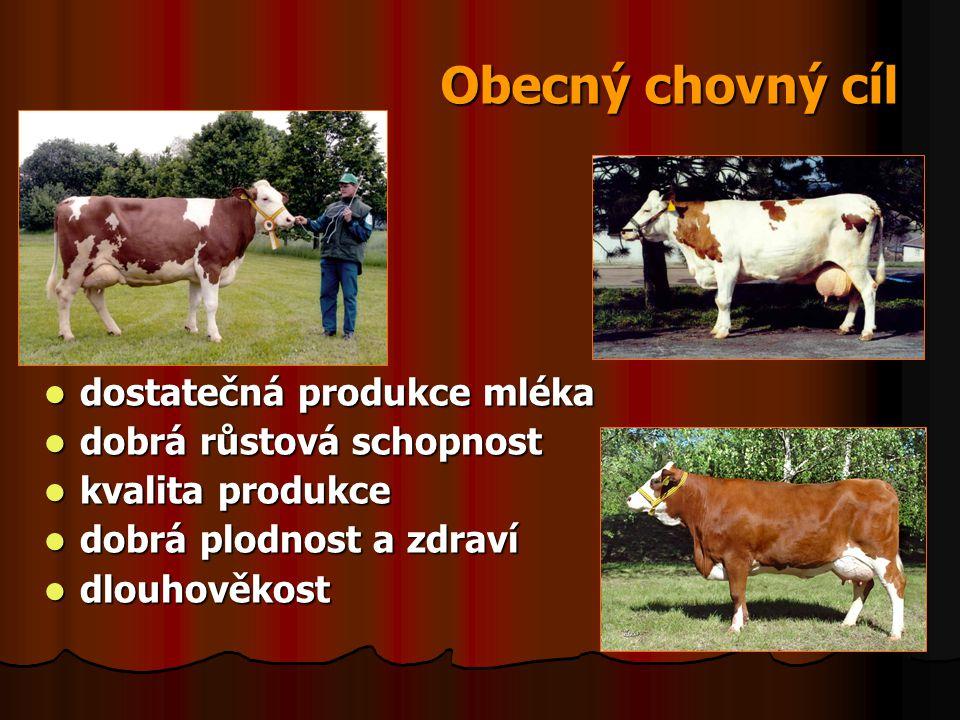 Obecný chovný cíl dostatečná produkce mléka dostatečná produkce mléka dobrá růstová schopnost dobrá růstová schopnost kvalita produkce kvalita produkc