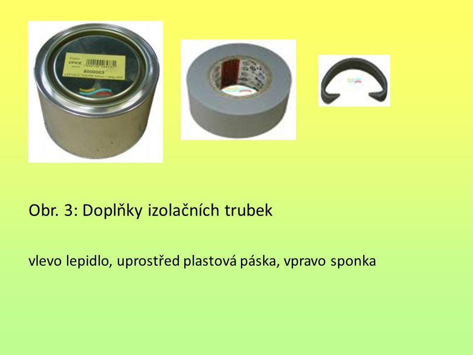 Obr. 3: Doplňky izolačních trubek vlevo lepidlo, uprostřed plastová páska, vpravo sponka