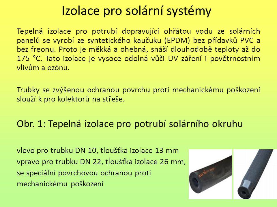 Izolace pro solární systémy Tepelná izolace pro potrubí dopravující ohřátou vodu ze solárních panelů se vyrobí ze syntetického kaučuku (EPDM) bez příd