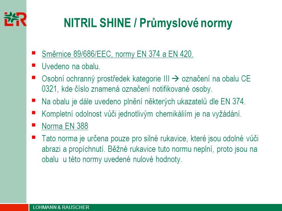 LOHMANN & RAUSCHER NITRIL SHINE / Průmyslové normy  Směrnice 89/686/EEC, normy EN 374 a EN 420.  Uvedeno na obalu.  Osobní ochranný prostředek kate