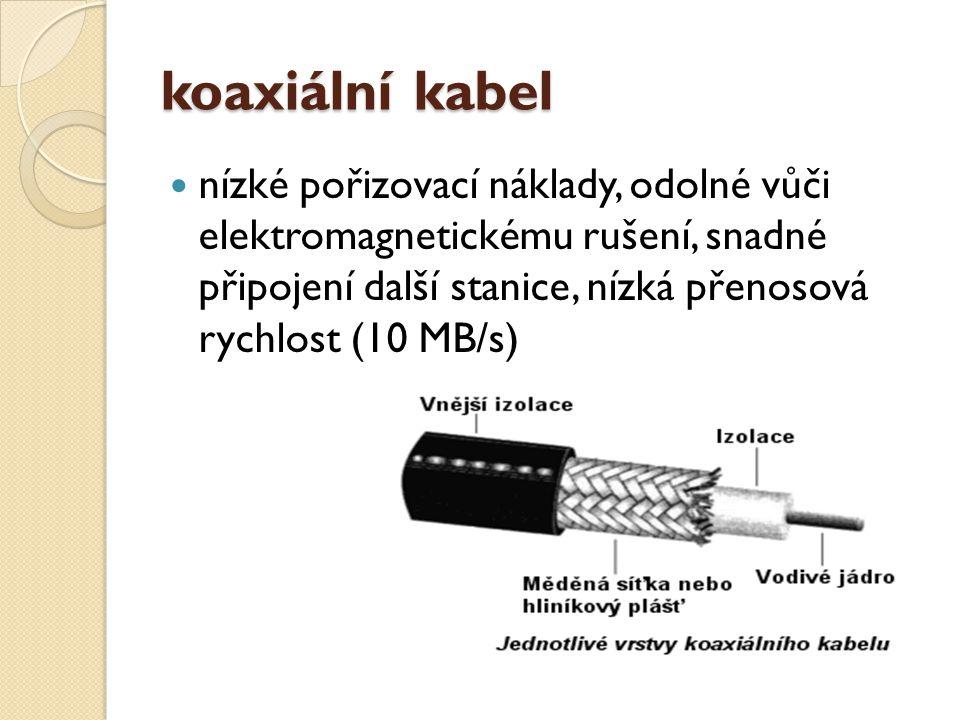 koaxiální kabel nízké pořizovací náklady, odolné vůči elektromagnetickému rušení, snadné připojení další stanice, nízká přenosová rychlost (10 MB/s)