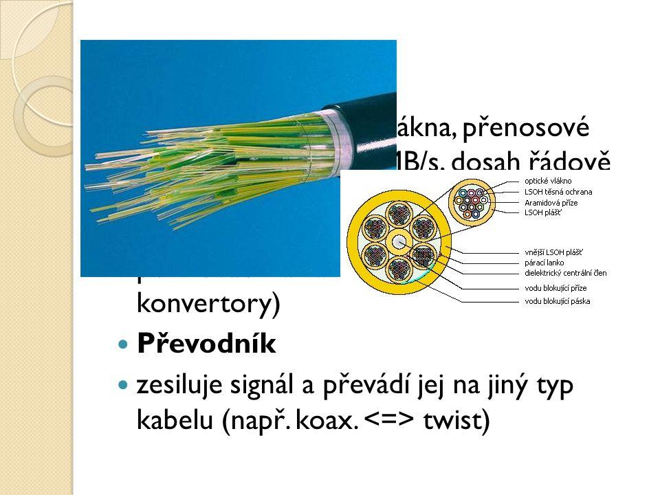 optický kabel plastová či skleněná vlákna, přenosové rychlosti kolem 100 MB/s, dosah řádově kilometry, absolutně odolná vůči elmg. záření, galvanické