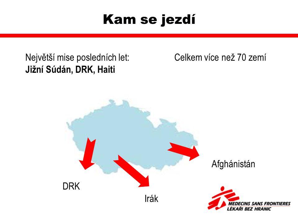 Kam se jezdí Největší mise posledních let:Celkem více než 70 zemí Jižní Súdán, DRK, Haiti DRK Irák Afghánistán
