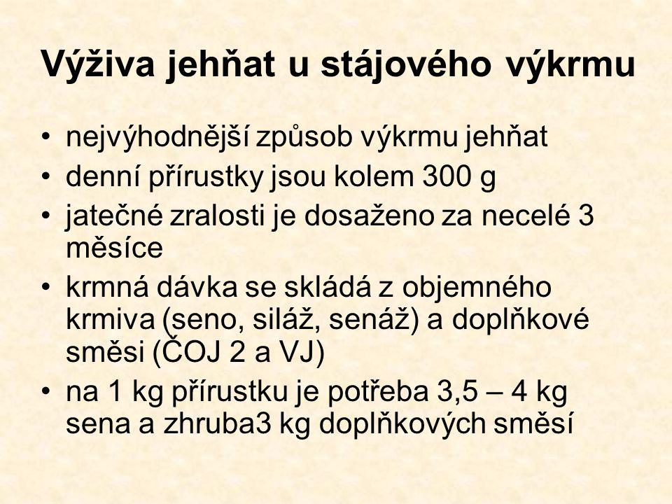 Výživa jehňat u stájového výkrmu nejvýhodnější způsob výkrmu jehňat denní přírustky jsou kolem 300 g jatečné zralosti je dosaženo za necelé 3 měsíce krmná dávka se skládá z objemného krmiva (seno, siláž, senáž) a doplňkové směsi (ČOJ 2 a VJ) na 1 kg přírustku je potřeba 3,5 – 4 kg sena a zhruba3 kg doplňkových směsí