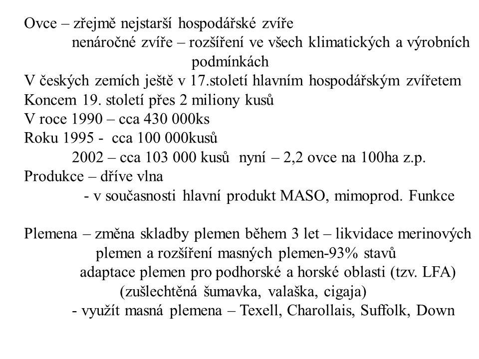 Ovce – zřejmě nejstarší hospodářské zvíře nenáročné zvíře – rozšíření ve všech klimatických a výrobních podmínkách V českých zemích ještě v 17.století hlavním hospodářským zvířetem Koncem 19.