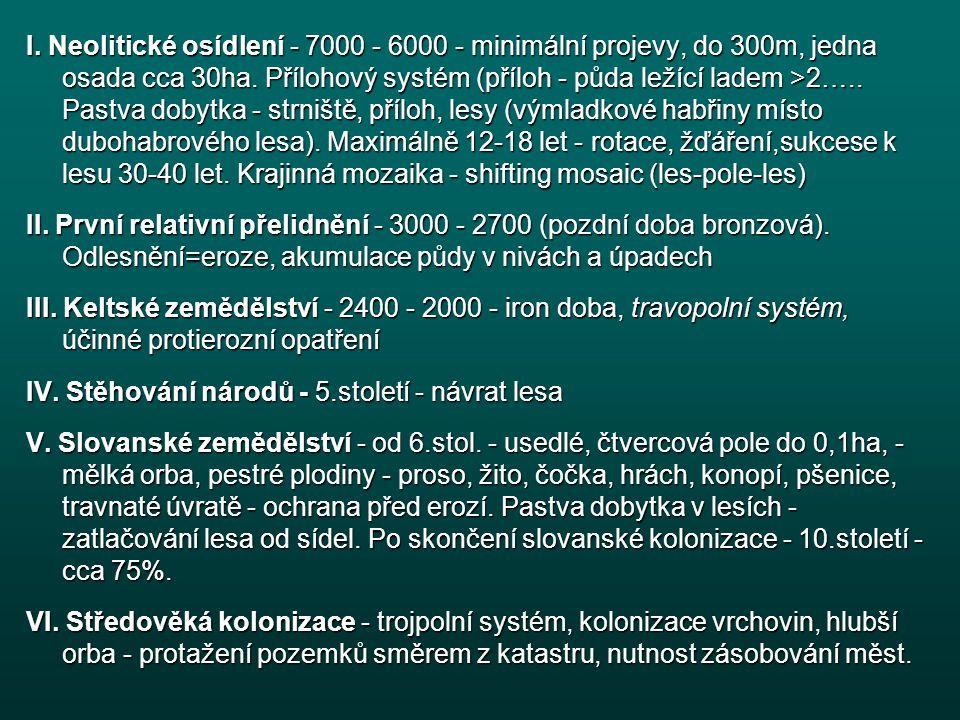 I.Neolitické osídlení - 7000 - 6000 - minimální projevy, do 300m, jedna osada cca 30ha.