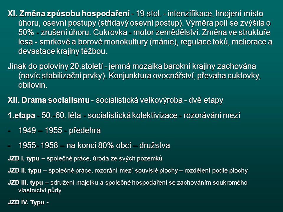 XI.Změna způsobu hospodaření - 19.stol.