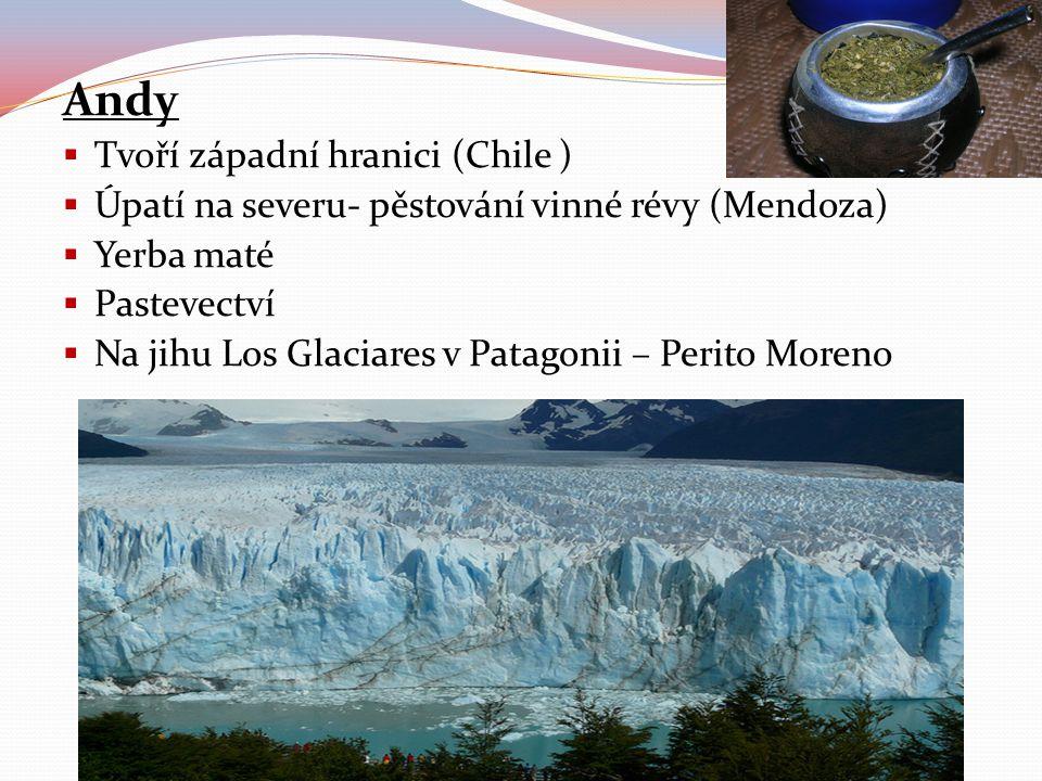 Andy  Tvoří západní hranici (Chile )  Úpatí na severu- pěstování vinné révy (Mendoza)  Yerba maté  Pastevectví  Na jihu Los Glaciares v Patagonii