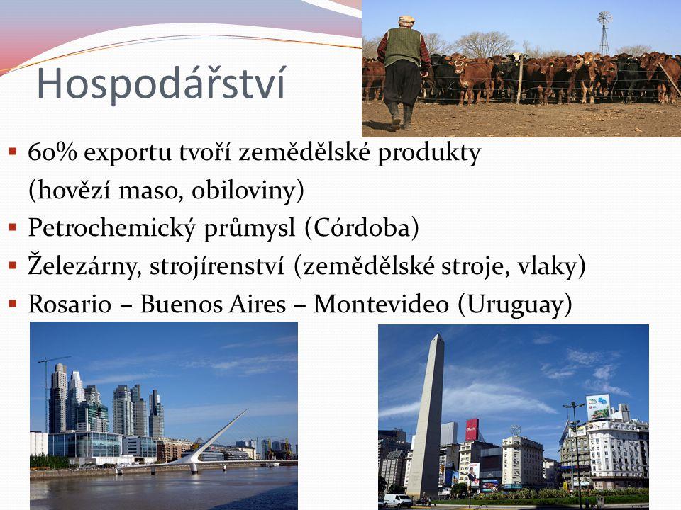 Hospodářství  60% exportu tvoří zemědělské produkty (hovězí maso, obiloviny)  Petrochemický průmysl (Córdoba)  Železárny, strojírenství (zemědělské