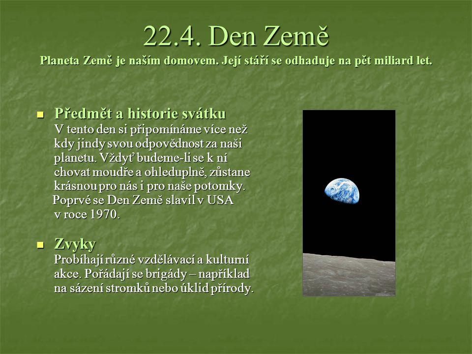 22.4.Den Země Planeta Země je naším domovem. Její stáří se odhaduje na pět miliard let.