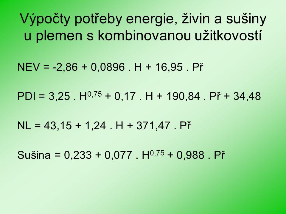 Výpočty potřeby energie, živin a sušiny u plemen s kombinovanou užitkovostí NEV = -2,86 + 0,0896. H + 16,95. Př PDI = 3,25. H 0,75 + 0,17. H + 190,84.