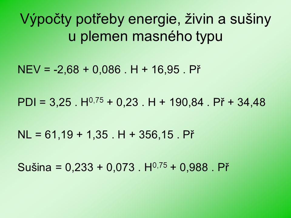Výpočty potřeby energie, živin a sušiny u plemen masného typu NEV = -2,68 + 0,086. H + 16,95. Př PDI = 3,25. H 0,75 + 0,23. H + 190,84. Př + 34,48 NL