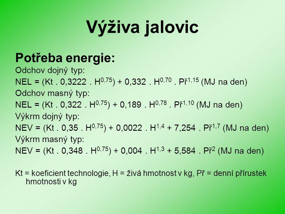 Výživa jalovic Potřeba energie: Odchov dojný typ: NEL = (Kt. 0,3222. H 0,75 ) + 0,332. H 0,70. Př 1,15 (MJ na den) Odchov masný typ: NEL = (Kt. 0,322.