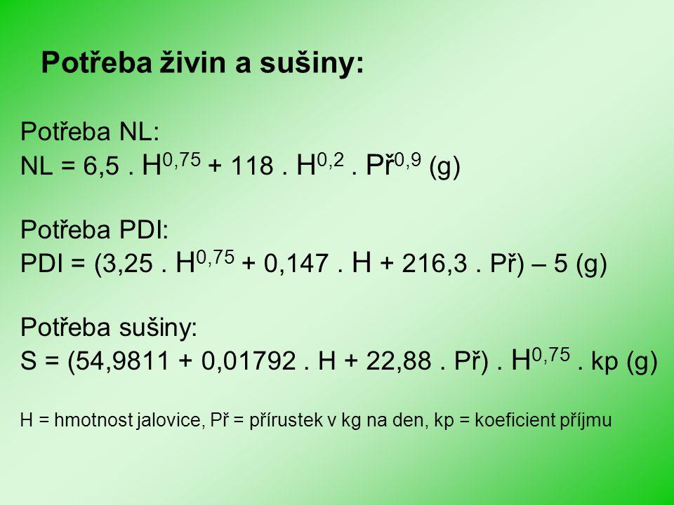 Potřeba živin a sušiny: Potřeba NL: NL = 6,5. H 0,75 + 118. H 0,2. Př 0,9 (g) Potřeba PDI: PDI = (3,25. H 0,75 + 0,147. H + 216,3. Př) – 5 (g) Potřeba