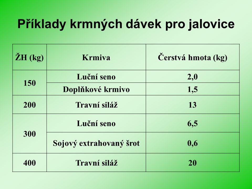 Příklady krmných dávek pro jalovice ŽH (kg)KrmivaČerstvá hmota (kg) 150 Luční seno2,0 Doplňkové krmivo1,5 200Travní siláž13 300 Luční seno6,5 Sojový e