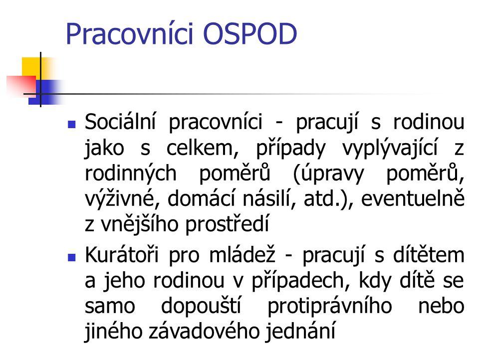 Pracovníci OSPOD Sociální pracovníci - pracují s rodinou jako s celkem, případy vyplývající z rodinných poměrů (úpravy poměrů, výživné, domácí násilí,