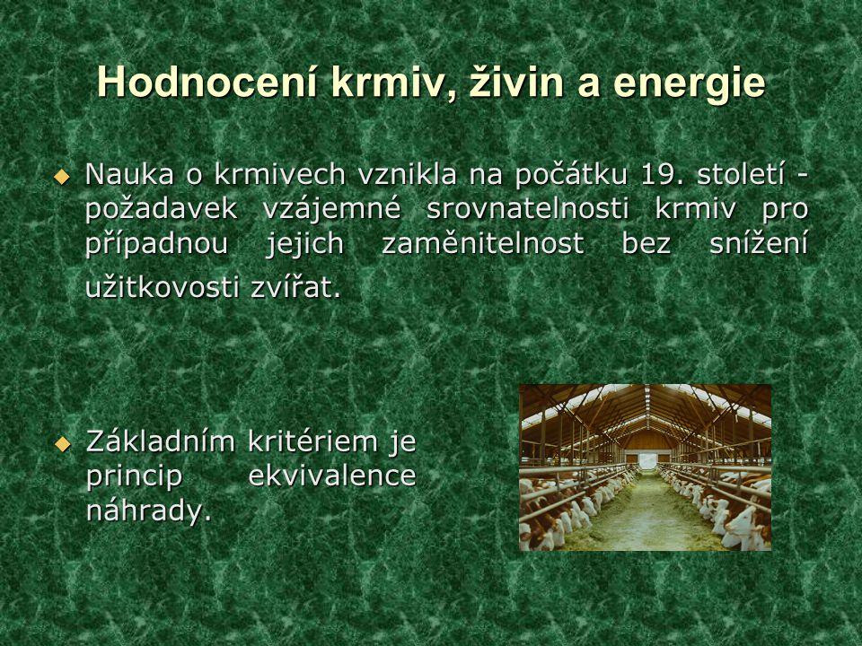 Hodnocení krmiv, živin a energie  Nauka o krmivech vznikla na počátku 19.