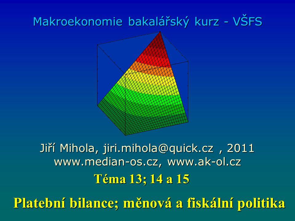 Platební bilance; měnová a fiskální politika Platební bilance; měnová a fiskální politika Makroekonomie bakalářský kurz - VŠFS Jiří Mihola, jiri.mihol