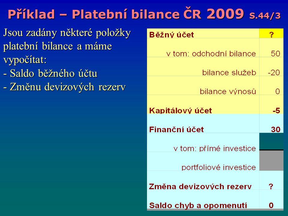 Jsou zadány některé položky platební bilance a máme vypočítat: - Saldo běžného účtu - Změnu devizových rezerv Příklad – Platební bilance ČR 2009 S.44/