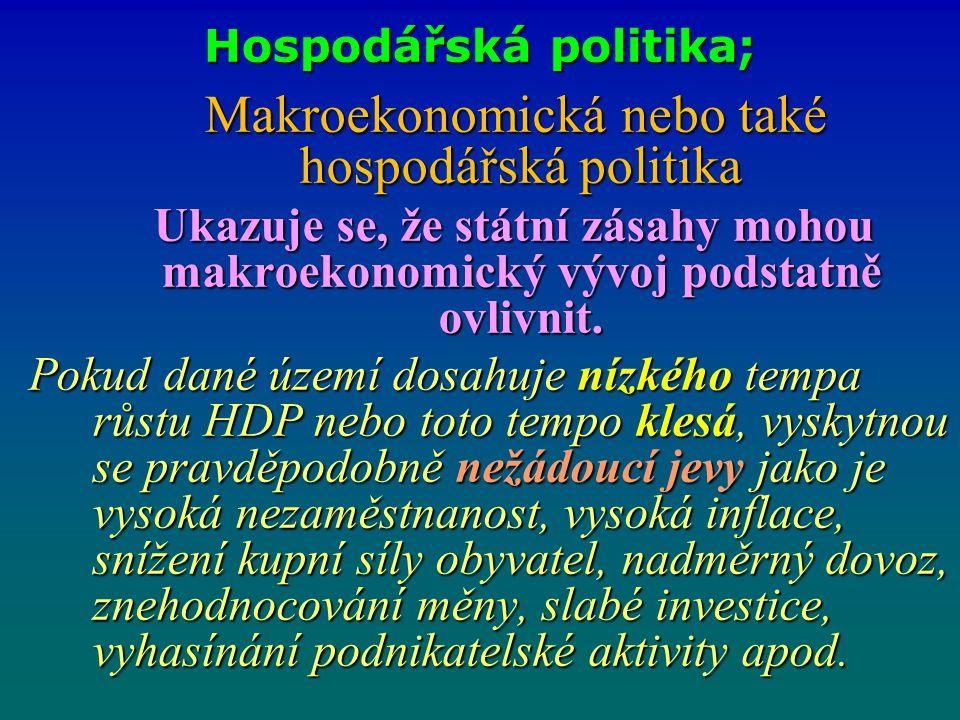 Hospodářská politika; Makroekonomická nebo také hospodářská politika Makroekonomická nebo také hospodářská politika Ukazuje se, že státní zásahy mohou