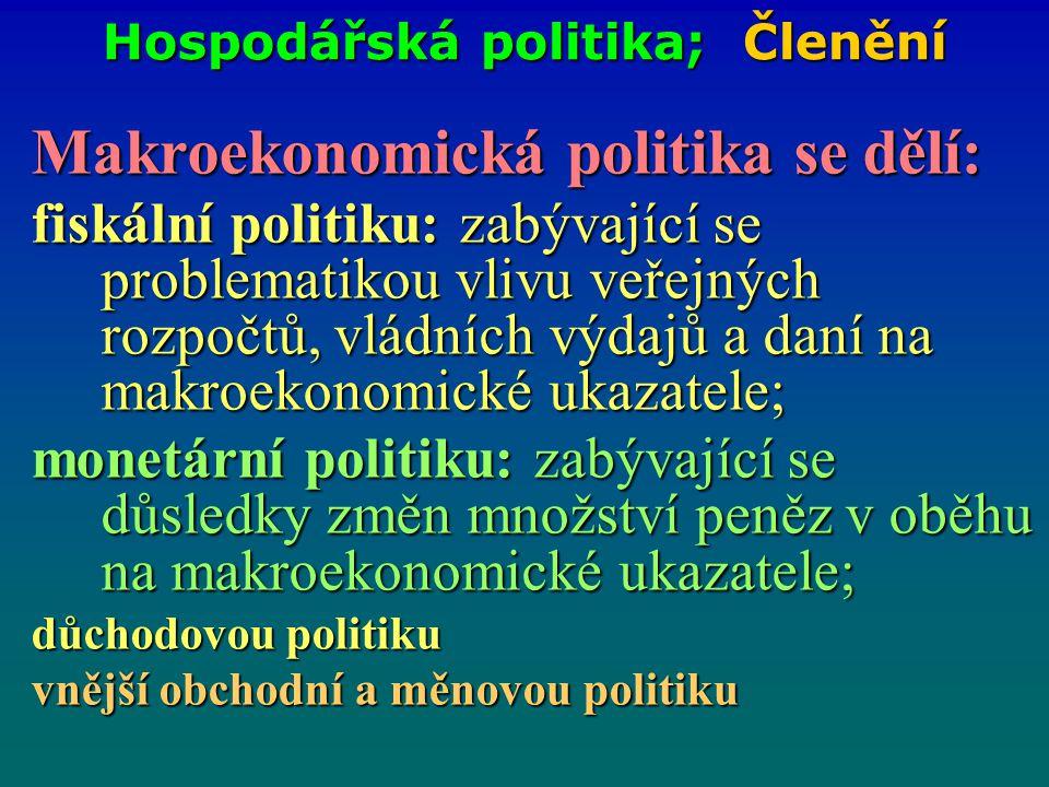 Hospodářská politika; Členění Makroekonomická politika se dělí: fiskální politiku: zabývající se problematikou vlivu veřejných rozpočtů, vládních výda