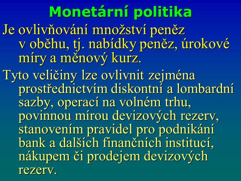 Monetární politika Je ovlivňování množství peněz v oběhu, tj. nabídky peněz, úrokové míry a měnový kurz. Tyto veličiny lze ovlivnit zejména prostředni