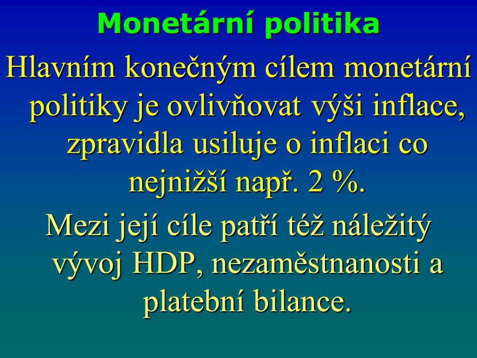 Monetární politika Hlavním konečným cílem monetární politiky je ovlivňovat výši inflace, zpravidla usiluje o inflaci co nejnižší např. 2 %. Mezi její