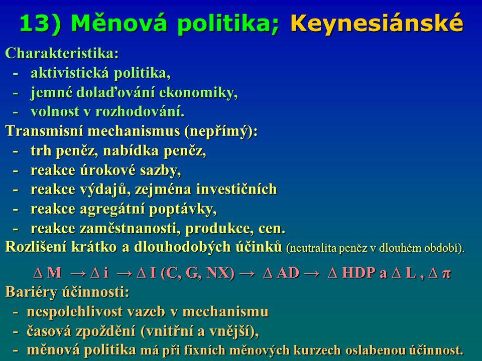 13) Měnová politika; Keynesiánské Charakteristika: - aktivistická politika, - aktivistická politika, - jemné dolaďování ekonomiky, - jemné dolaďování