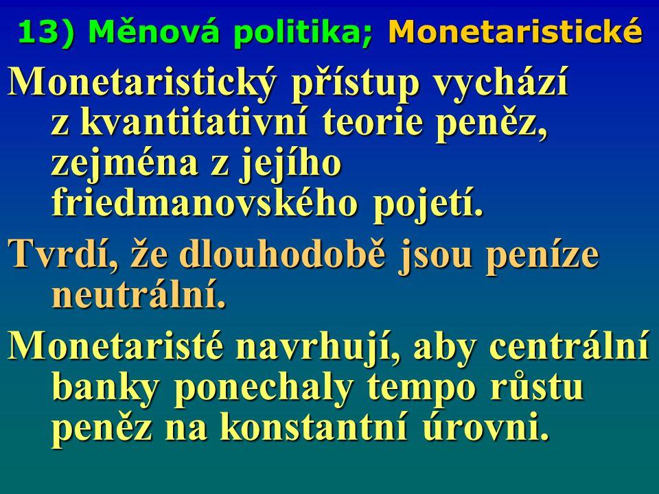 13) Měnová politika; Monetaristické Monetaristický přístup vychází z kvantitativní teorie peněz, zejména z jejího friedmanovského pojetí. Tvrdí, že dl
