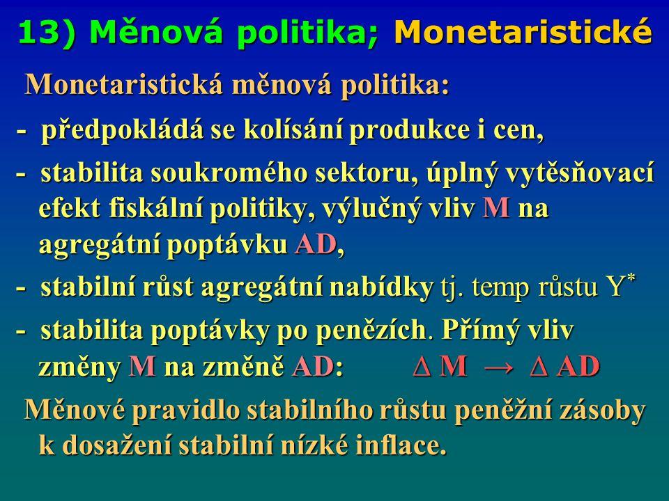 13) Měnová politika; Monetaristické Monetaristická měnová politika: Monetaristická měnová politika: - předpokládá se kolísání produkce i cen, - předpo