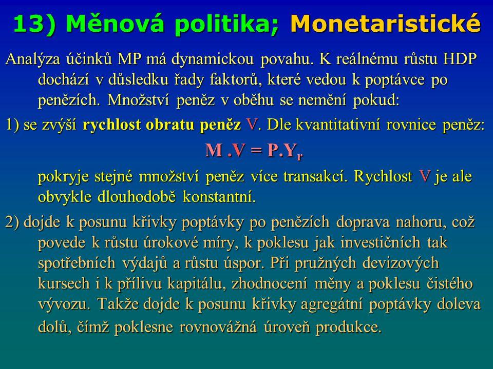 13) Měnová politika; Monetaristické Analýza účinků MP má dynamickou povahu. K reálnému růstu HDP dochází v důsledku řady faktorů, které vedou k poptáv