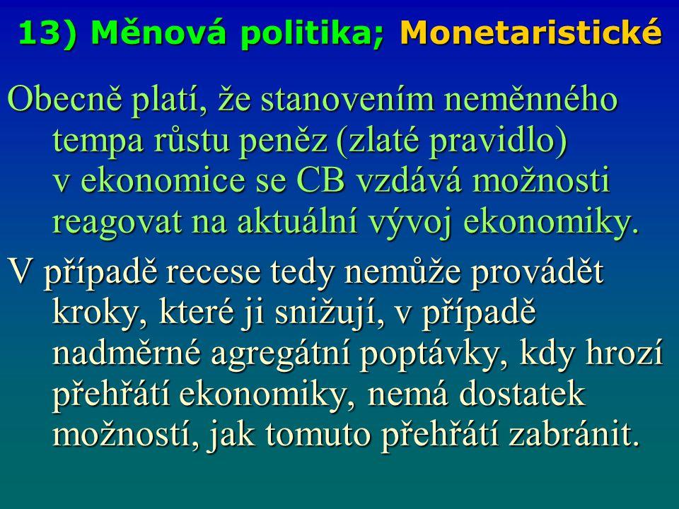13) Měnová politika; Monetaristické Obecně platí, že stanovením neměnného tempa růstu peněz (zlaté pravidlo) v ekonomice se CB vzdává možnosti reagova