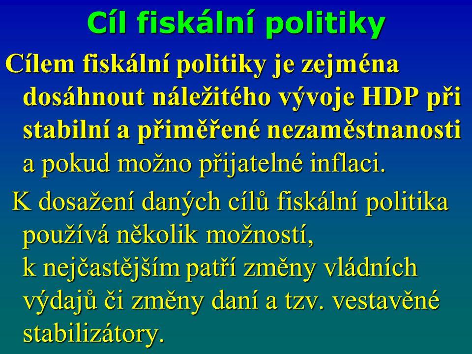 Cíl fiskální politiky Cílem fiskální politiky je zejména dosáhnout náležitého vývoje HDP při stabilní a přiměřené nezaměstnanosti a pokud možno přijat