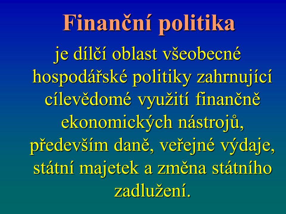 Finanční politika Finanční politika je dílčí oblast všeobecné hospodářské politiky zahrnující cílevědomé využití finančně ekonomických nástrojů, přede