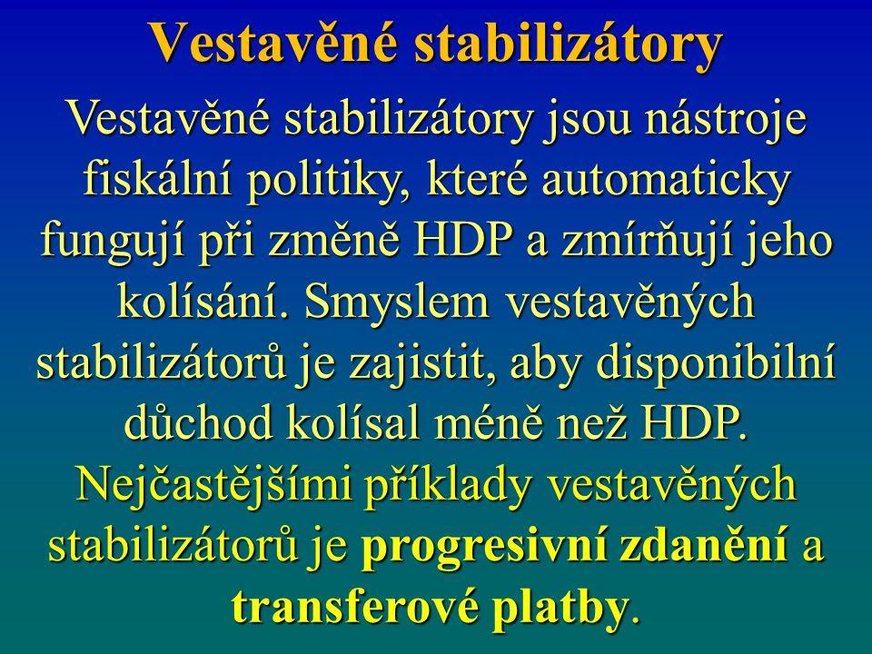 Vestavěné stabilizátory Vestavěné stabilizátory jsou nástroje fiskální politiky, které automaticky fungují při změně HDP a zmírňují jeho kolísání. Smy