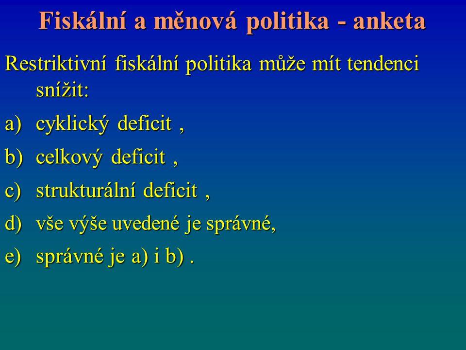 Fiskální a měnová politika - anketa Restriktivní fiskální politika může mít tendenci snížit: a)cyklický deficit, b)celkový deficit, c)strukturální def