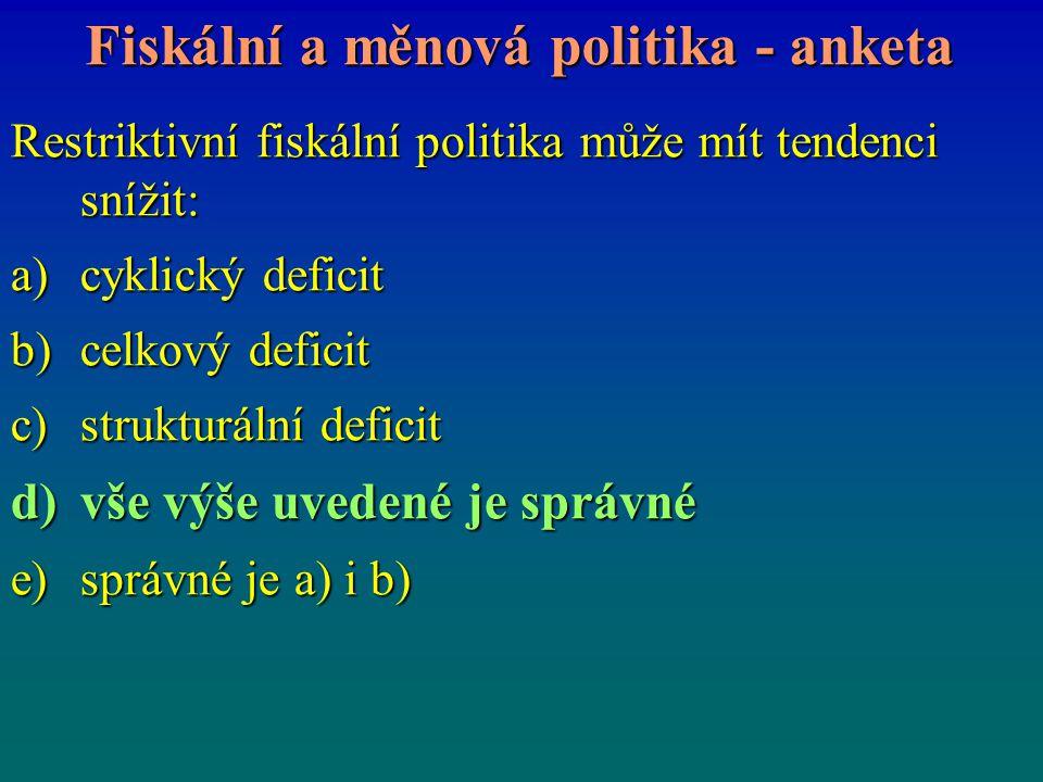 Fiskální a měnová politika - anketa Restriktivní fiskální politika může mít tendenci snížit: a)cyklický deficit b)celkový deficit c)strukturální defic