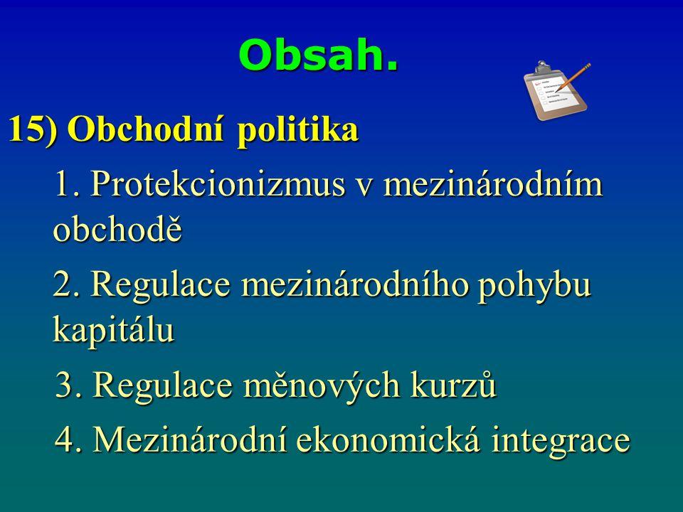 Obsah. 15) Obchodní politika 1. Protekcionizmus v mezinárodním obchodě 2. Regulace mezinárodního pohybu kapitálu 3. Regulace měnových kurzů 3. Regulac