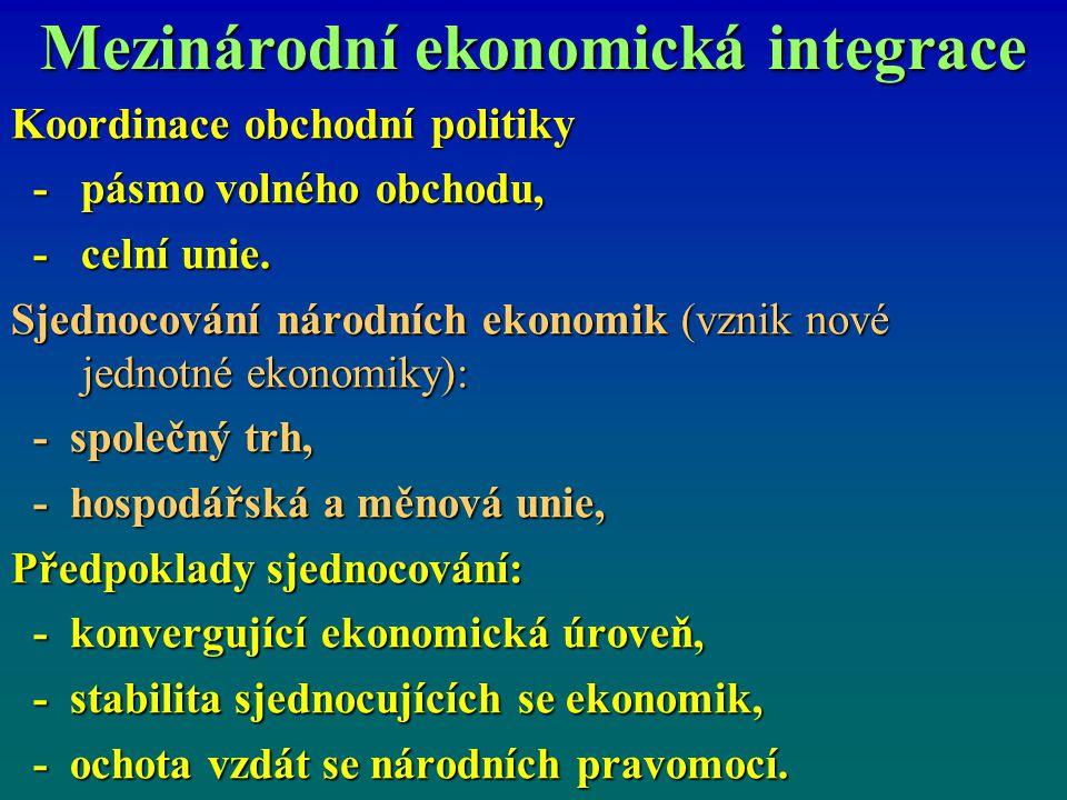 Mezinárodní ekonomická integrace Koordinace obchodní politiky - pásmo volného obchodu, - pásmo volného obchodu, - celní unie. - celní unie. Sjednocová