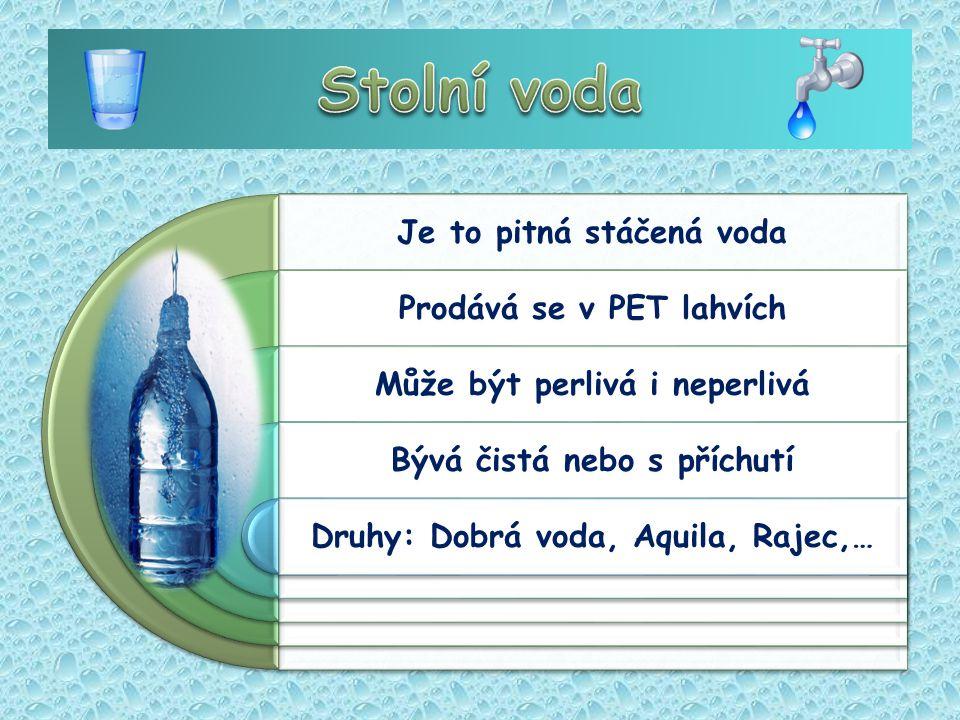 Je to pitná stáčená voda Prodává se v PET lahvích Může být perlivá i neperlivá Bývá čistá nebo s příchutí Druhy: Dobrá voda, Aquila, Rajec,…