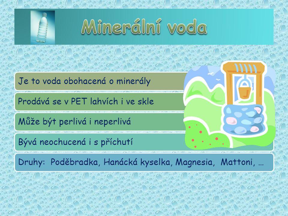 Je to voda obohacená o minerályProdává se v PET lahvích i ve skleMůže být perlivá i neperliváBývá neochucená i s příchutíDruhy: Poděbradka, Hanácká kyselka, Magnesia, Mattoni, …