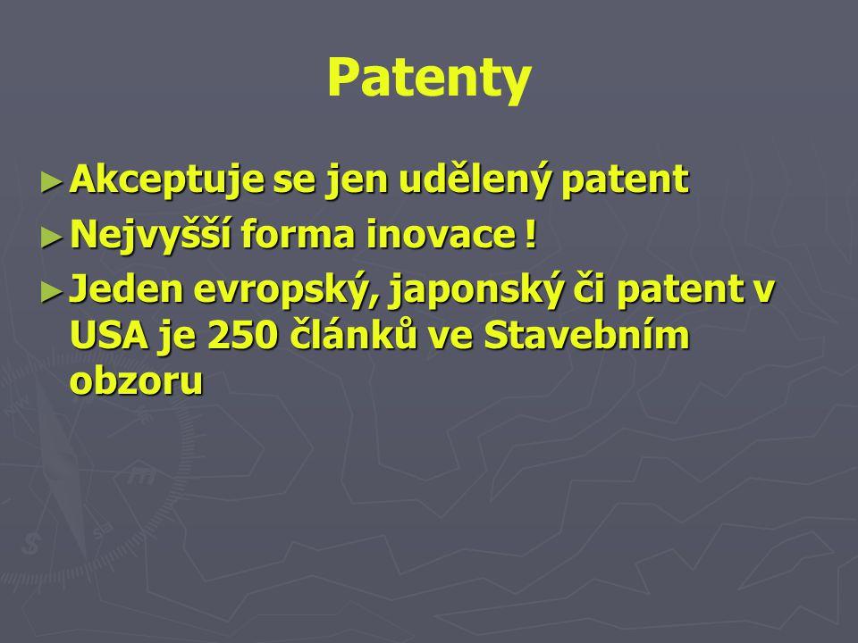 Patenty ► Akceptuje se jen udělený patent ► Nejvyšší forma inovace ! ► Jeden evropský, japonský či patent v USA je 250 článků ve Stavebním obzoru