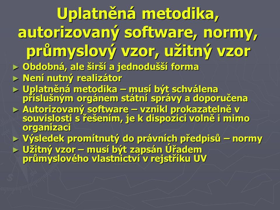 Uplatněná metodika, autorizovaný software, normy, průmyslový vzor, užitnývzor Uplatněná metodika, autorizovaný software, normy, průmyslový vzor, užitný vzor ► Obdobná, ale širší a jednodušší forma ► Není nutný realizátor ► Uplatněná metodika – musí být schválena příslušným orgánem státní správy a doporučena ► Autorizovaný software – vznikl prokazatelně v souvislosti s řešením, je k dispozici volně i mimo organizaci ► Výsledek promítnutý do právních předpisů – normy ► Užitný vzor – musí být zapsán Úřadem průmyslového vlastnictví v rejstříku UV