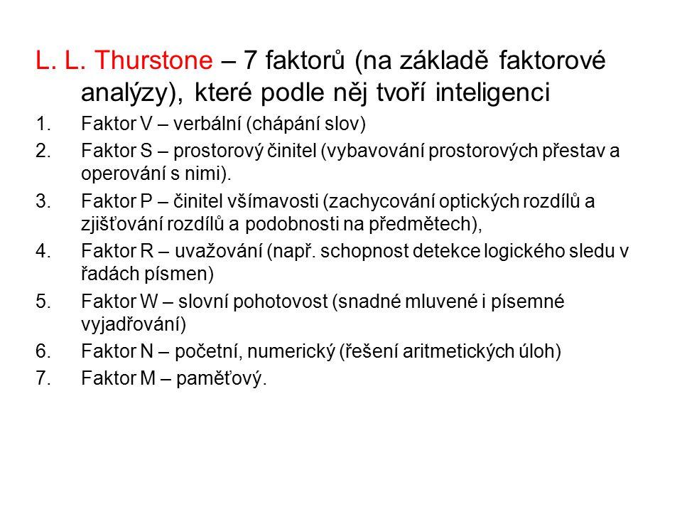 L. L. Thurstone – 7 faktorů (na základě faktorové analýzy), které podle něj tvoří inteligenci 1.Faktor V – verbální (chápání slov) 2.Faktor S – prosto