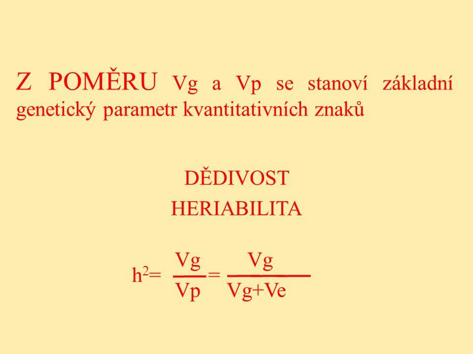 Z POMĚRU Vg a Vp se stanoví základní genetický parametr kvantitativních znaků DĚDIVOST HERIABILITA h 2 = = Vg Vp Vg+Ve